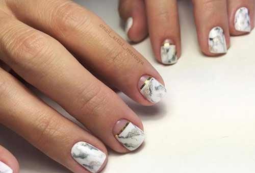 Мрамор с золотом дизайн для коротких ногтей