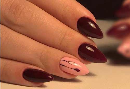 Бордовый маникюр для увеличения ногтевого ложе