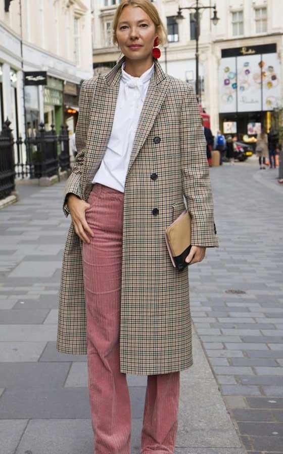 Белая блуза + вельветовый брюки