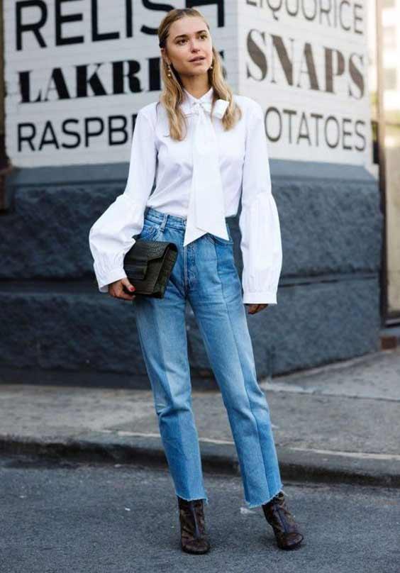 Белая блуза + джинсы