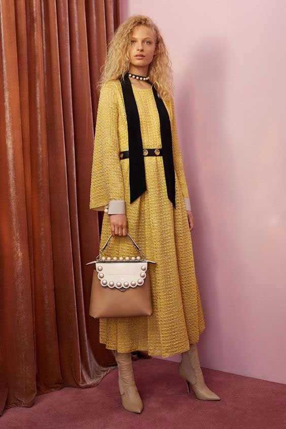 Fendi платье светло-желтое