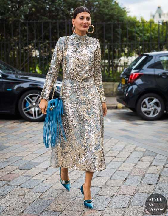 Платье-миди с пайетками