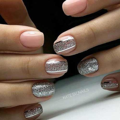 Нюд+глиттер серебро