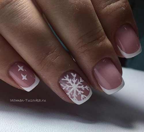 Белая снежинка маникюр