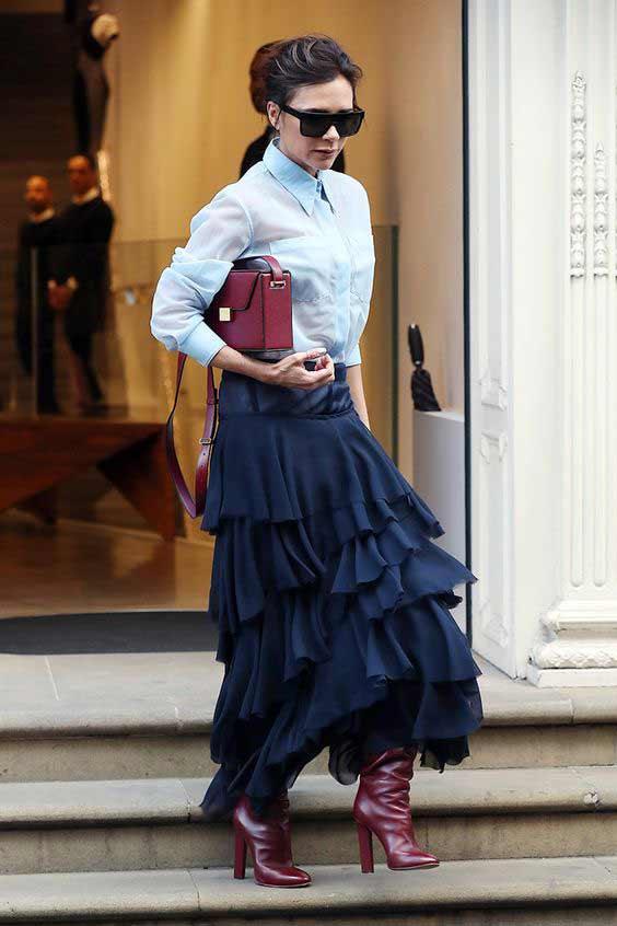 Многоярусная юбка, Виктория Бекхэм