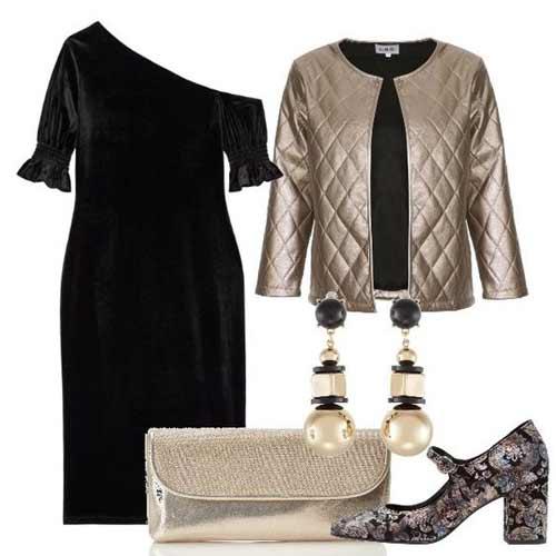 Наряд на новый год черное платье и золотые аксессуары