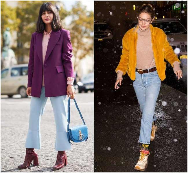 Модные джинсы клеш от колена 2018