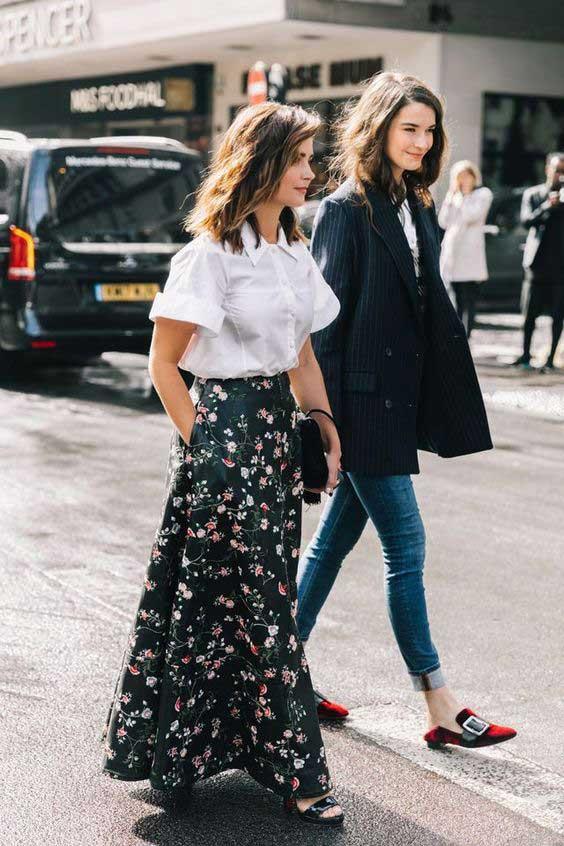 Длинная юбка в цветочек