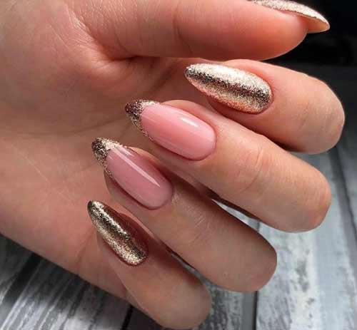 Длинные ногти украшение блестками, френч
