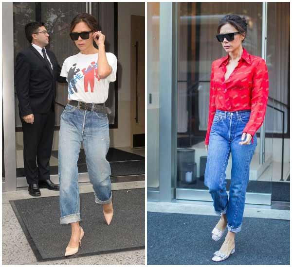 Виктория Бекхэм в прямых джинсах