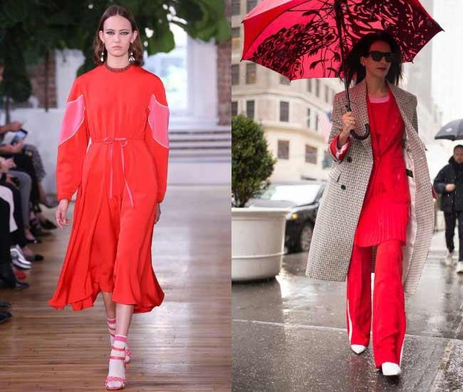 Сочетание в одежде красного и розового