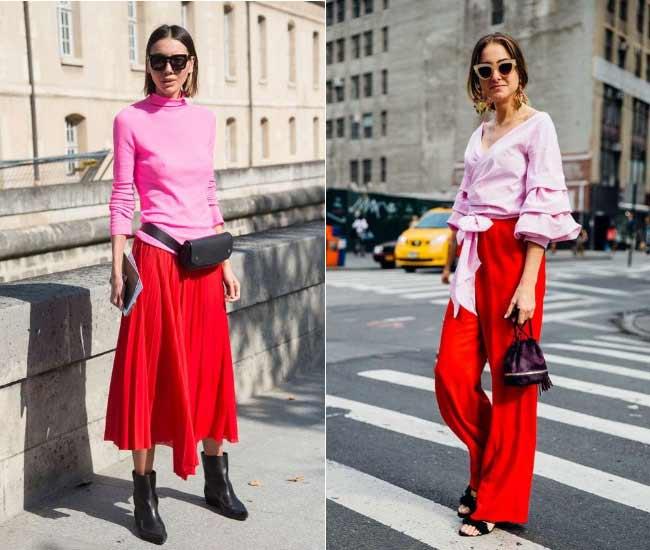 Сочетание розовый + красный в одежде