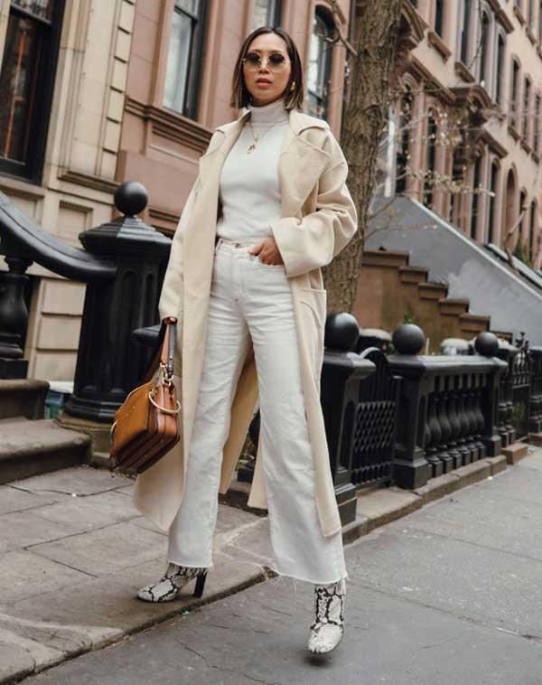 Клеш белые, модный образ 2018
