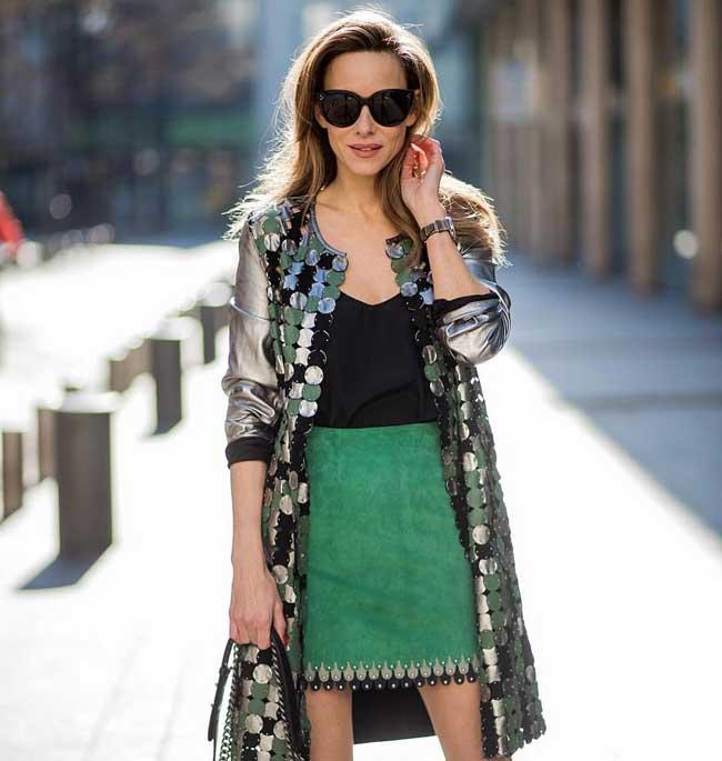 Юбка карандаш модного зеленого цвета