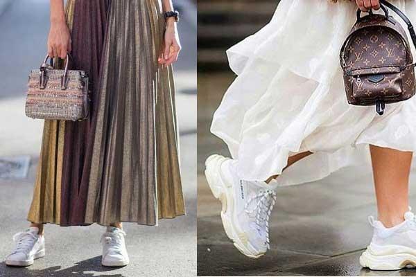 Платья, которые лучше носить со спортивной обувью, фото с кроссовками