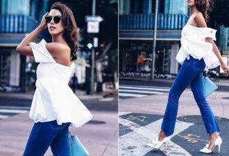 Джинсы и белая блуза образ в стиле минимализм