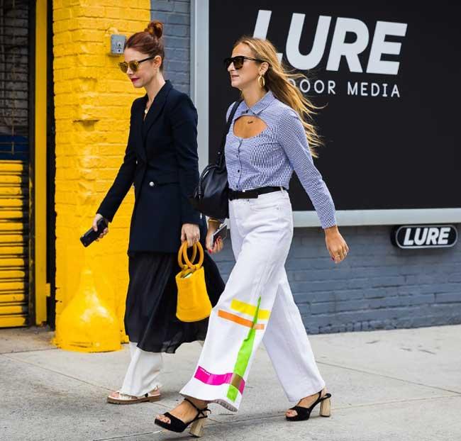 Белые широкие брюки на лето