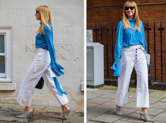 Модные светлые брюки на лето