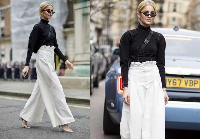 Белые широкие брюки - луки