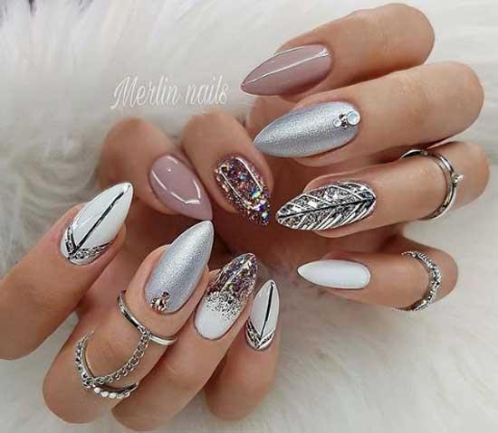 Блестящий дизайн ногтей