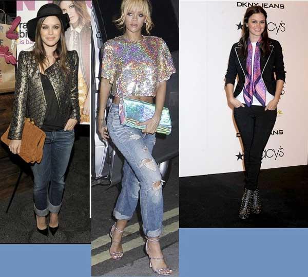 Блестящие образы с джинсами