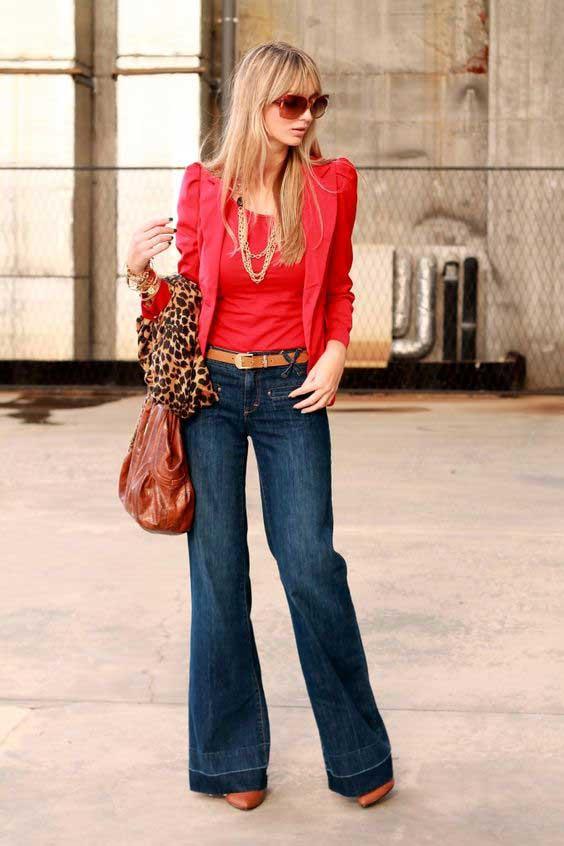 С чем носить джинсы клеш образы