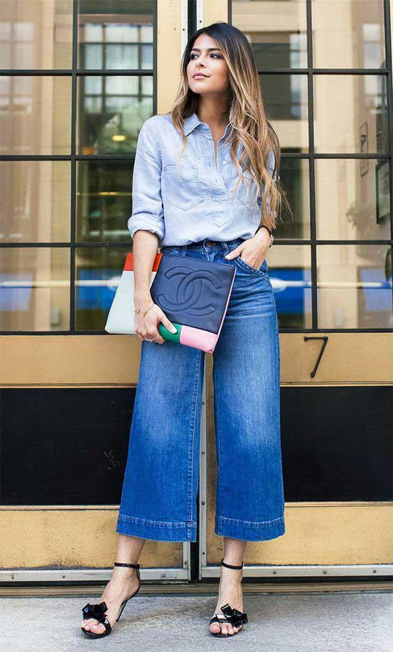 С чем надевать джинсы клеш