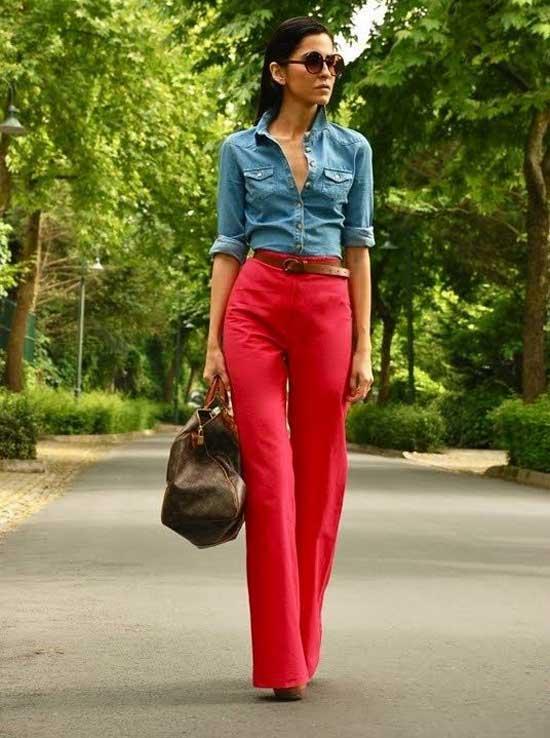 Красные джинсы с денимом