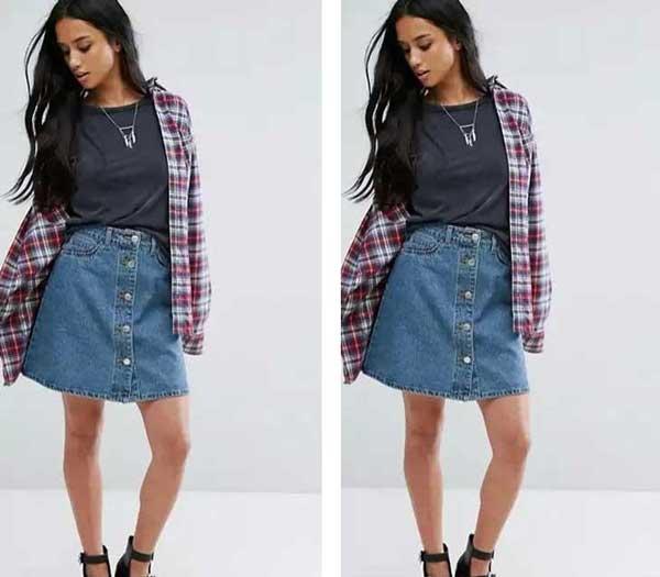 Мини-джинсовая юбка