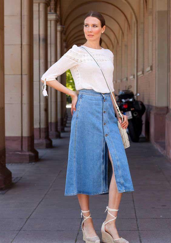 Джинсовая юбка длина миди с чем носить