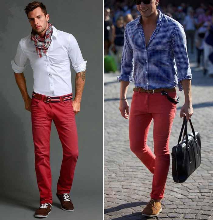 красные джинсы на мужчинах