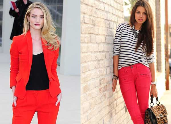 C чем носить красные джинсы: образы, фото