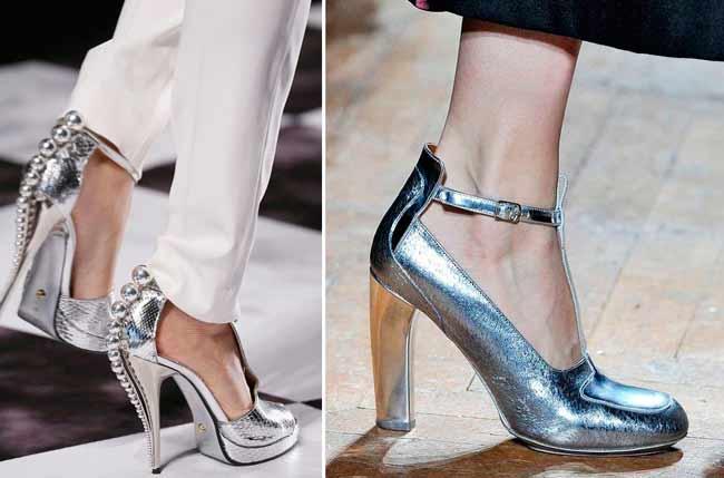 Серебристые туфли 2016-2017