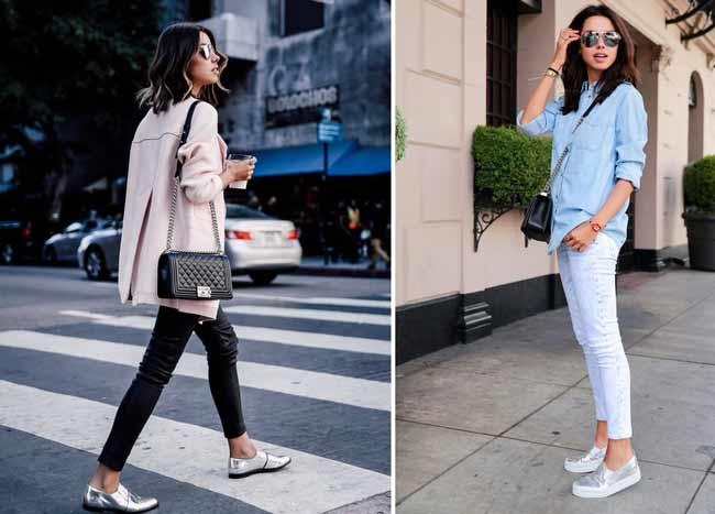 Модные образы с серебристой обувью