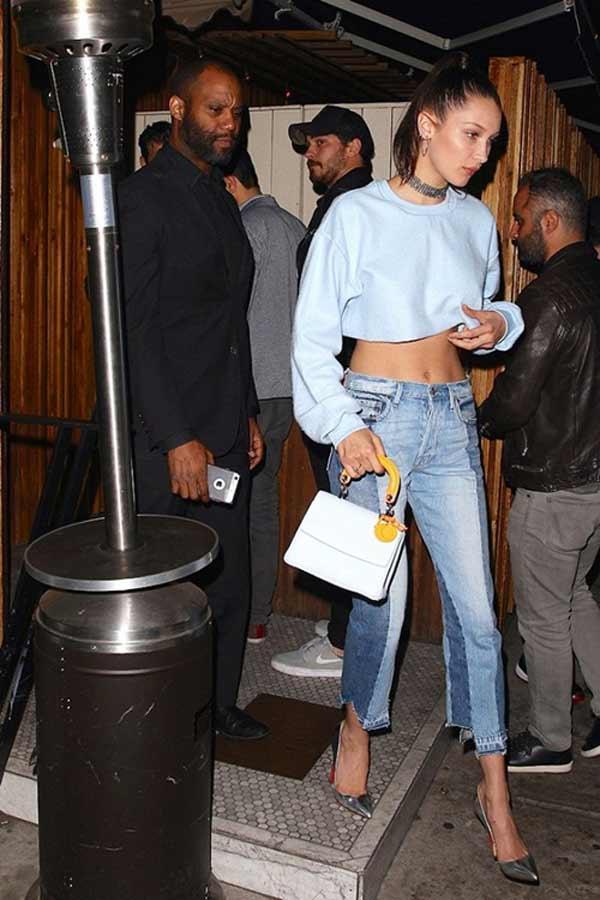 Белла Хадид 2-х цветные джинсы