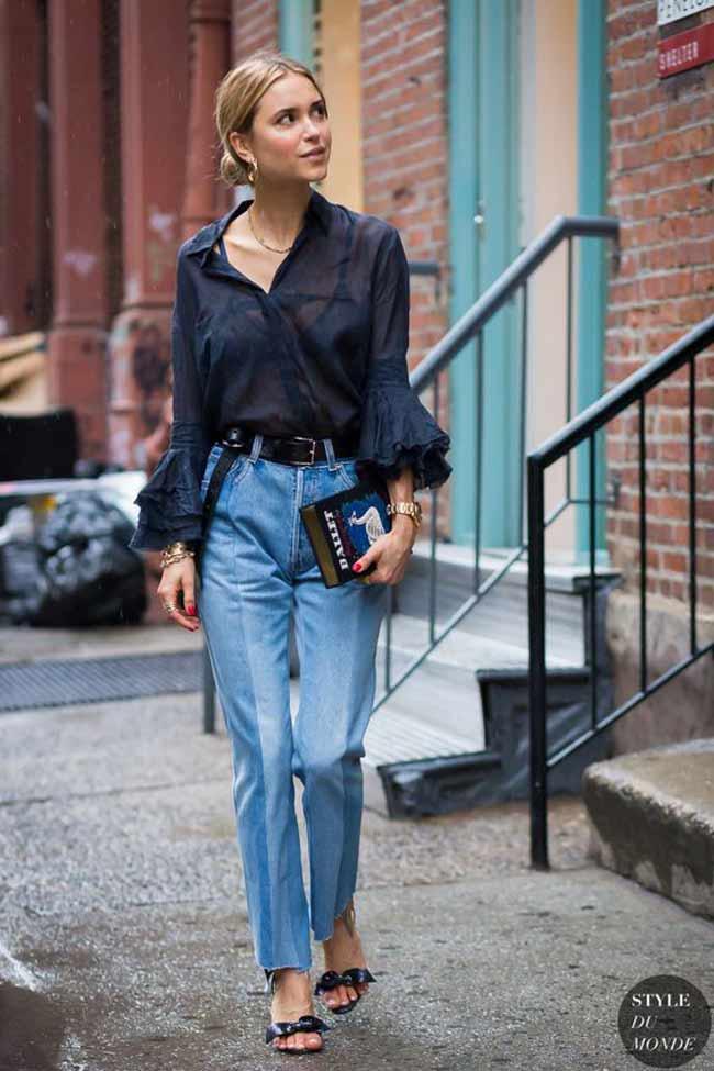 Уличный стиль и двухцветные джинсы