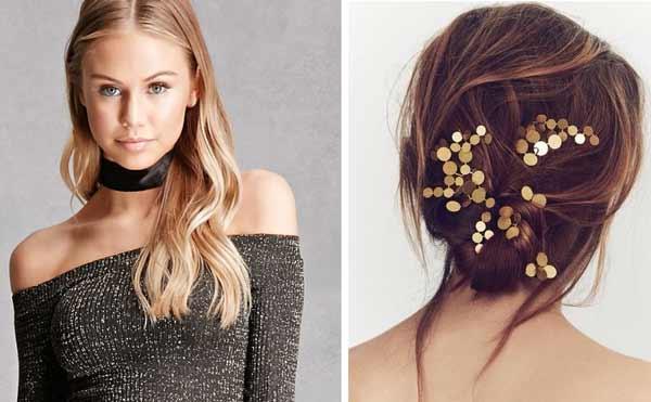 Свитер и заколка для волос с металлическим блеском