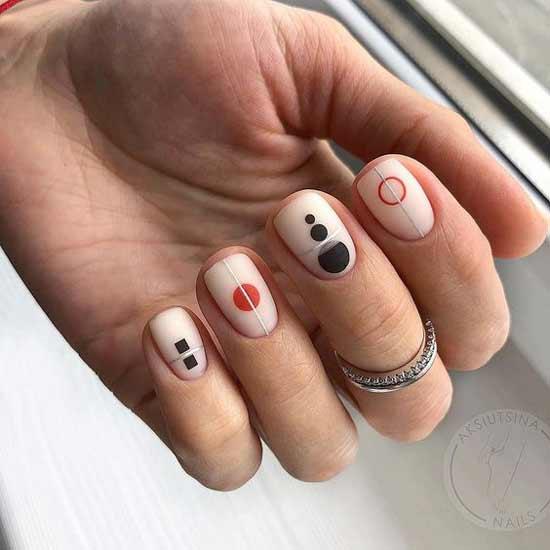 Стильная графика на короткой длине ногтей