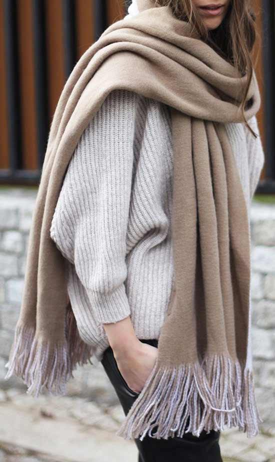 Объемный шарф+уютный свитер