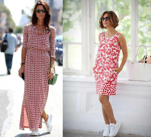 Платья с кедами как носить