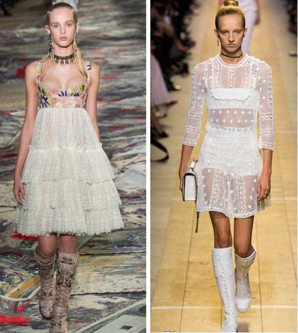 Варианты белого платья из нежного кружева из разных коллекций