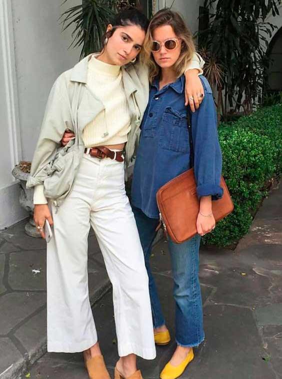 Образ с широкими белыми джинсами