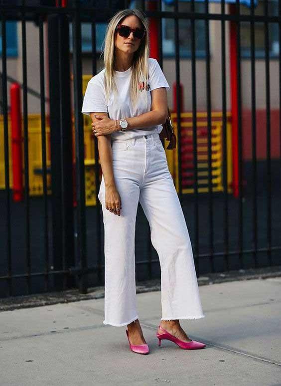 Белые джинсы - образ 2018