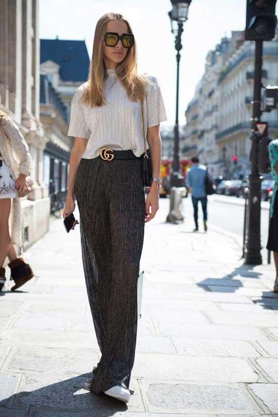 Широкие брюки + белая блузка