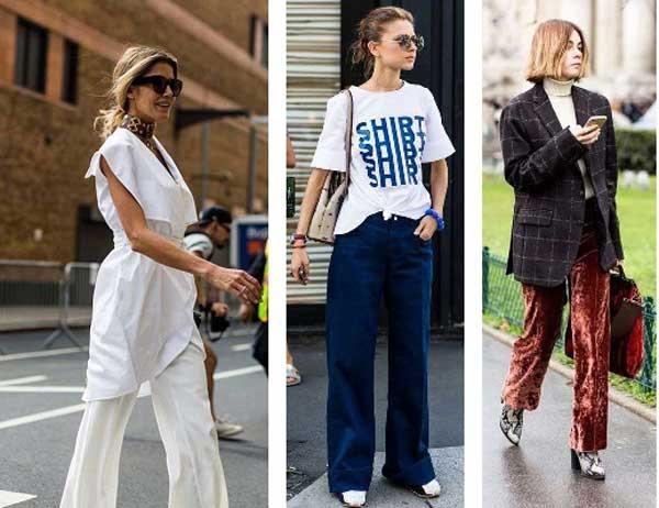 Как носить широкие брюки: 12 образов с улиц Парижа и Нью-Йорка