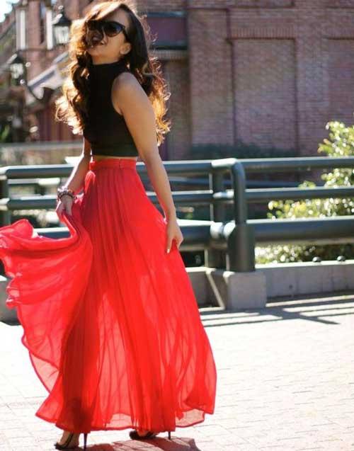 Образ для свидания с красной юбкой