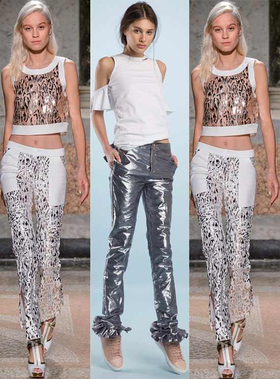 Блестящие металлизированные брюки