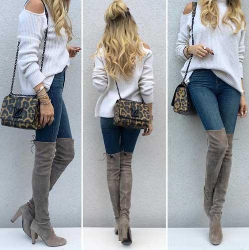 Длинные сапоги с джинсы