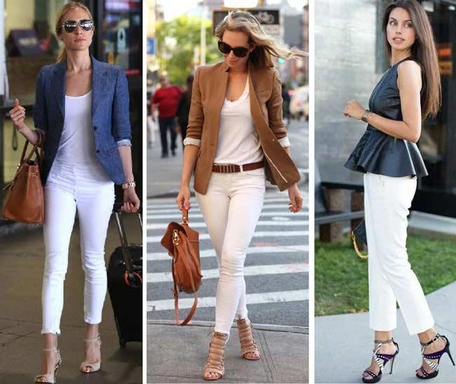 Белые джинсы в летних образах