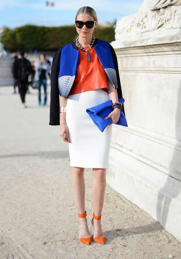 Белая юбка+ синяя сумка+жакет с синими вставками
